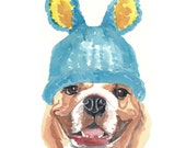 Bulldog Watercolor - Original Painting, Knit Hat, Dog Art
