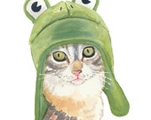 Cat Art Original Watercolor, Cute Cat, Frog Hat, Cat Illustration, 8x10