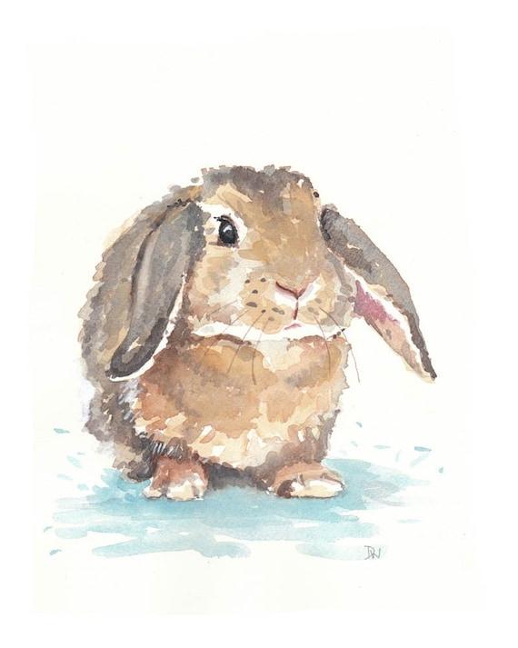 Little Rabbit Original Watercolor Painting 8x10