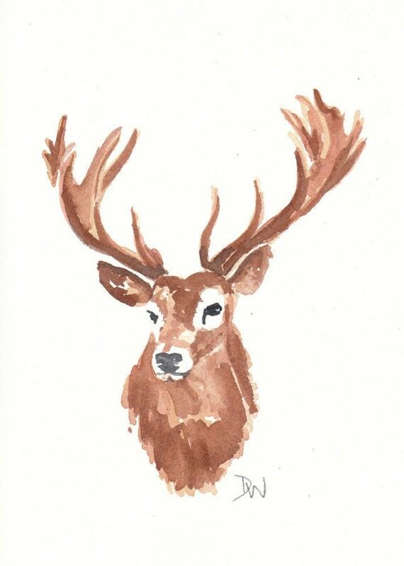stag head watercolor original painting deer animal art