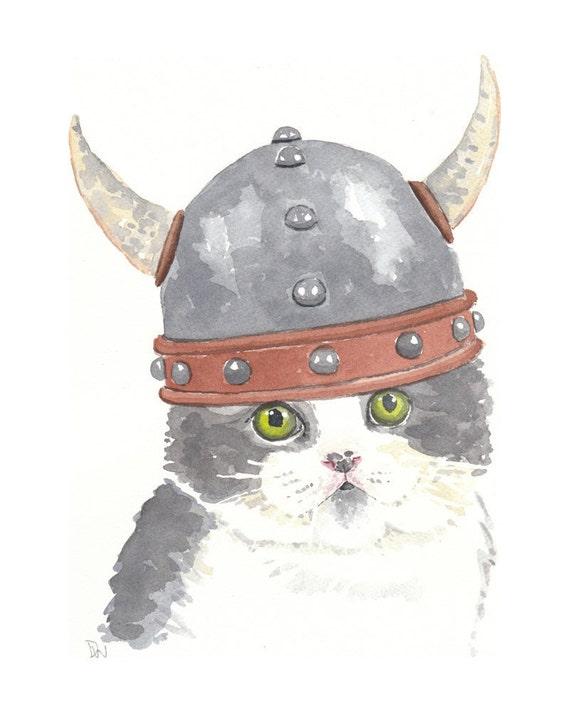 Cat Watercolor - Original Painting, Viking, Kitten Illustration