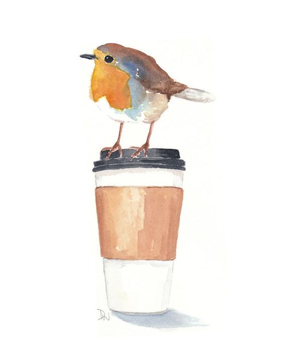 Coffee watercolor painting original art robin bird for Coffee watercolor