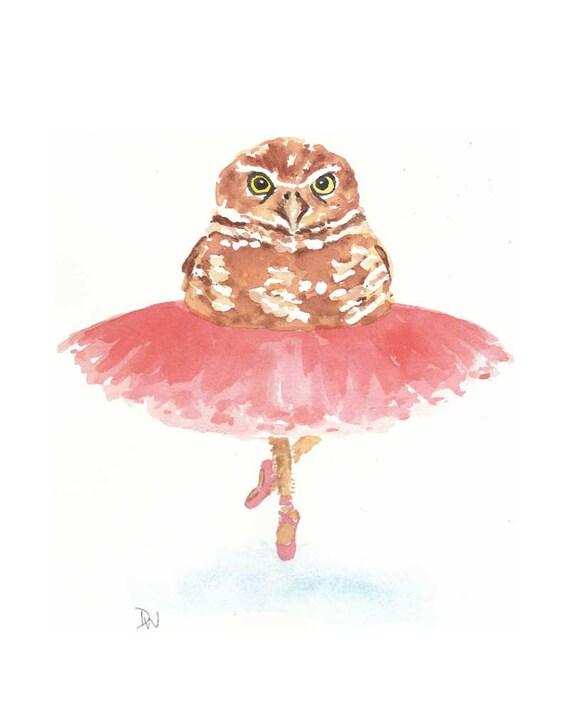 Owl Watercolor - Original Painting, Ballet, Tutu, Animal Illustration