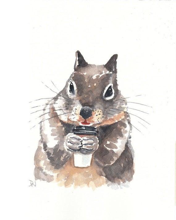 Squirrel Watercolor - Original Painting, Coffee, Animal Art