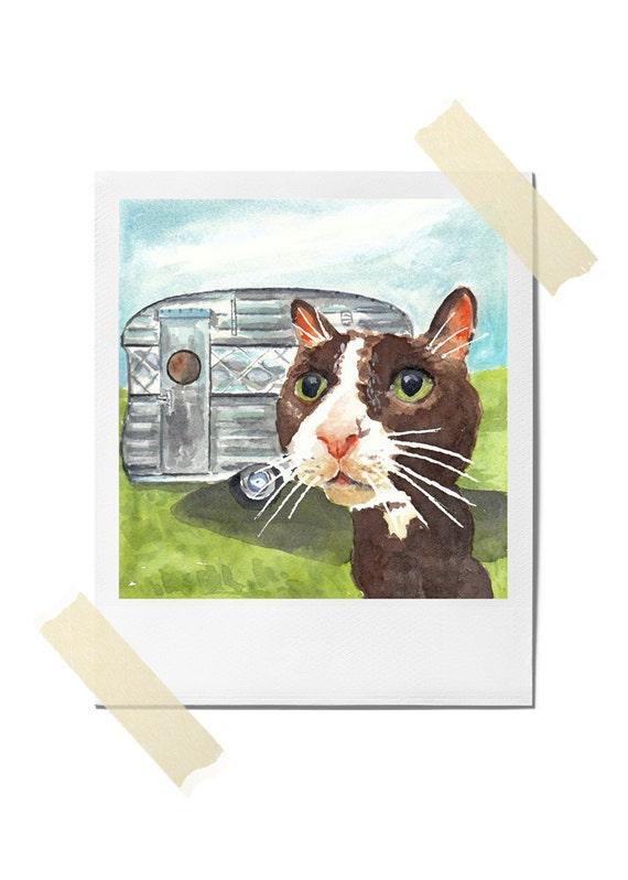 Watercolor Cat PRINT - Tuxedo Cat, Vintage Camper, 5x7 Print, Travel Art, Open Edition