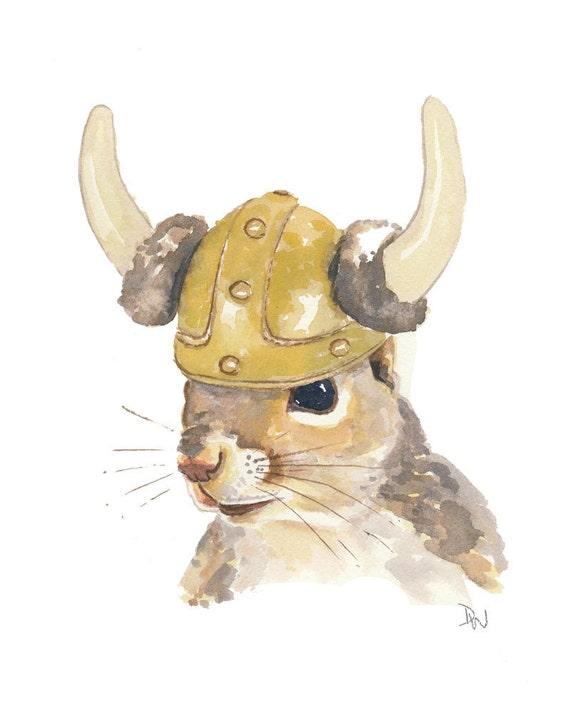 Original Squirrel Watercolor Painting - Viking Helmet, Viking Squirrel, Animal Art