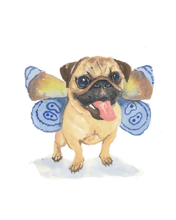 Original Dog Watercolor - Pug Watercolor, Butterfly Wings, Animal Illustration, 8x10