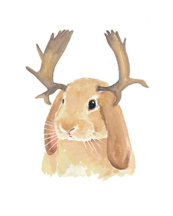Rabbit Watercolor Painting - Original Bunny Art, Nursery Art, Moose Antlers, 8x10
