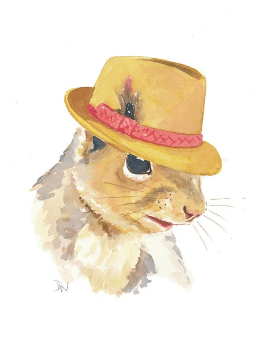 Squirrel Watercolor - Original Squirrel Illustration, Fedora Hat, Animal Art, Humor, 8x10