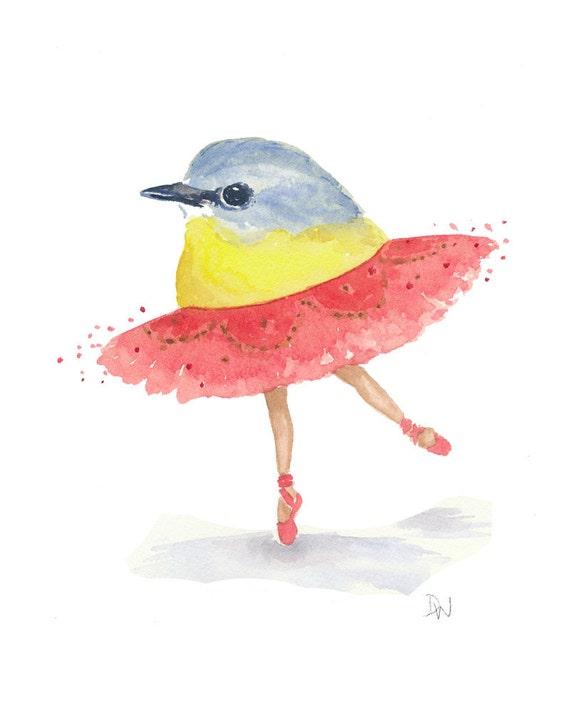 Bird Watercolor Painting - Ballet Bird, Eastern Yellow Robin, Nursery Art, 8x10