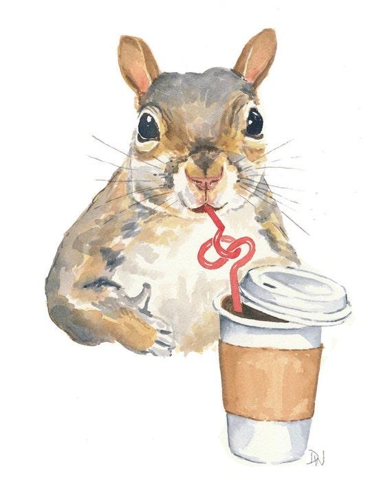 Original Squirrel Watercolor - Squirrel Painting, Coffee, Bendy Straw,  Animal Art, Humor, 8x10