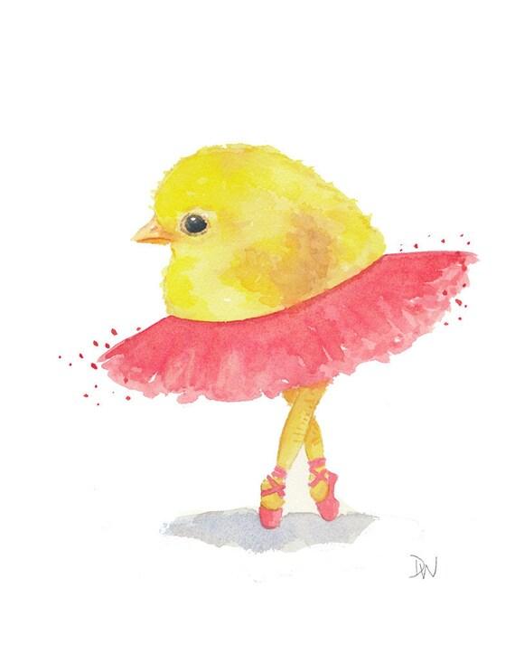 Chick Watercolor Painting - Ballet Art, Original Animal Painting, Animal Illustration, Nursery Art, 8x10