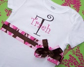 Personalized Pink Camo Ribboned Onesie with matching hairbow