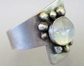 Sterling Silver Moonstone Ring, Chunky Ring, Handmade Silver Rings