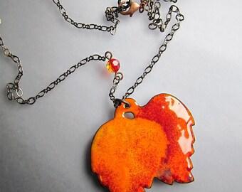 Big bohemian pendant Long orange leaves necklace Enamel artisan jewelry