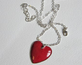 Red enamel puffy heart necklace Big dark red enameled sweetheart pendant Romantic gift for her