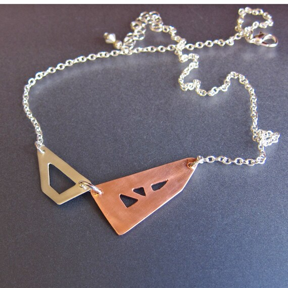 Asymmetric geometric necklace Copper and sterling silver necklace Mixed metal choker Unique simple modern jewelry