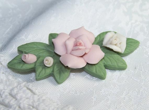 Vintage Porcelain Floral Brooch Roses Rose Bud Floral VTG Pink Cream Green