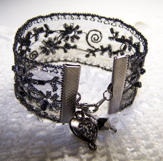 Black and Silver Beaded Ribbon Bracelet Formal Goth Steampunk Sparkle Gunmetal Victorian Vintage Look