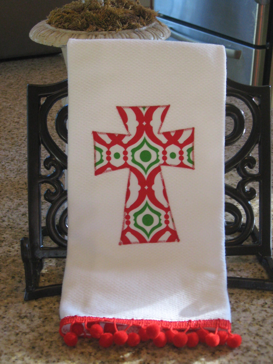 Funky Damask Christmas Kitchen Towel