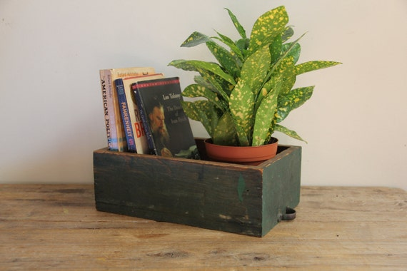 Vintage Decor // Small Green Wood Drawer