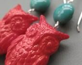 Red Orange Owl Earrings