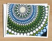 Note Card of Blue Green Circle Mandala (close-up)