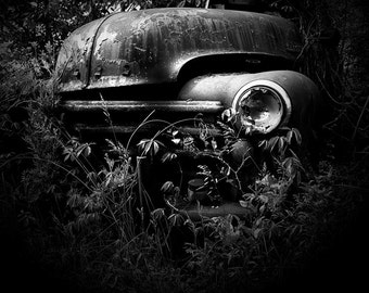 Broken Headlight - Black & White Digital Photographic Print, Abandoned Truck, Wall Art, Rustic Home Decor