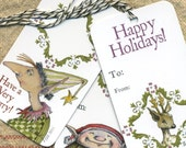 Be An Elf Tags--- Set of Six Whimsical Holiday Illustration Gift Tags