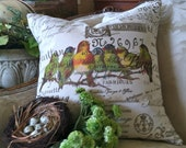 Pillow Cover Burlap and Canvas French Script Bird Gathering by Gathered Comforts