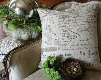 Pillow Cover French Script Canvas  and burlap  Pillow Slip by gathered comforts