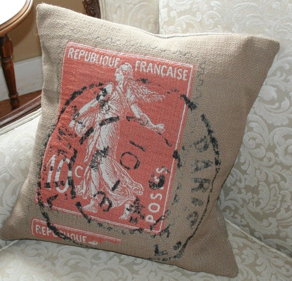 "Pillow cover French Script and burlap ""Postage Stamp Red"" Pillow Slip"
