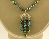 Iris Green Necklace with Antique Silver 3 Strand Pendant