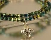 2 Strand Iris Green Bracelet with Fleur De Lis Charm