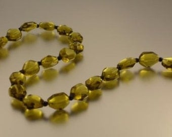 Faceted Olive Glass and Jet Bead Necklace