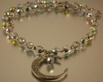 Vitrail Necklace with Pewter Moon Pendant