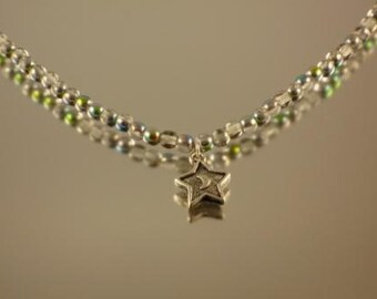 Vitrail Bead Necklace with Moon and Star Pendant