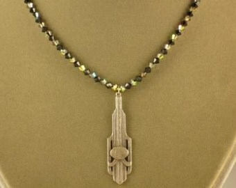 Jet and Vitrail Bicone Crystal Necklace with Dramatic Art Deco Pendant- 18 inch version