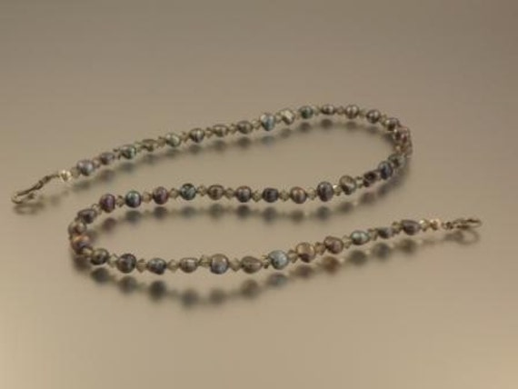 Peacock Pearl and Black Diamond Crystal Necklace