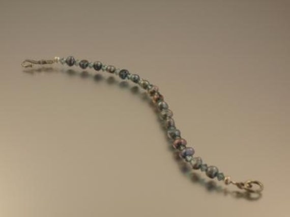 Peacock Freshwater Pearl and Montana Blue Crystal Bracelet