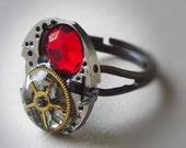 Steampunk RUBY Swarovski crystal Cocktail Ring