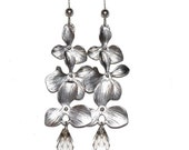 brushed silver orchid drops