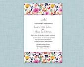 Spring floral rehearsal dinner or event invitation-custom graphic design