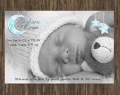 Sweet custom baby photo or birth announcement graphic for diy printing moon and stars
