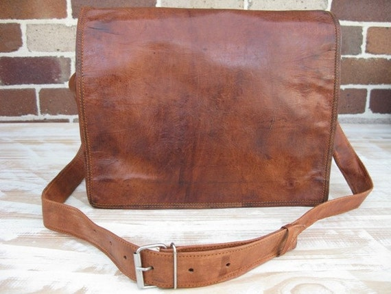 16 Inch Handmade Leather Postal Messenger Laptop Satchel Bag by Rust 16-LS-POST