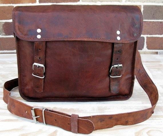 16 Inch Handmade Leather Messenger Laptop Satchel Curve Bag by Rust 16-LS-CRV