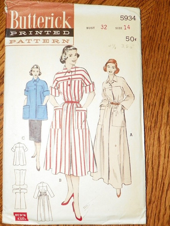 Butterick 5934 ladies belted dress or smock pattern size 14