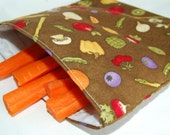 Reusable Sandwich Bag Brown with fruit and vegetables
