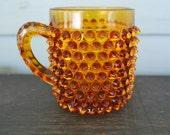 Vintage Hobnail Orange Glass Cup