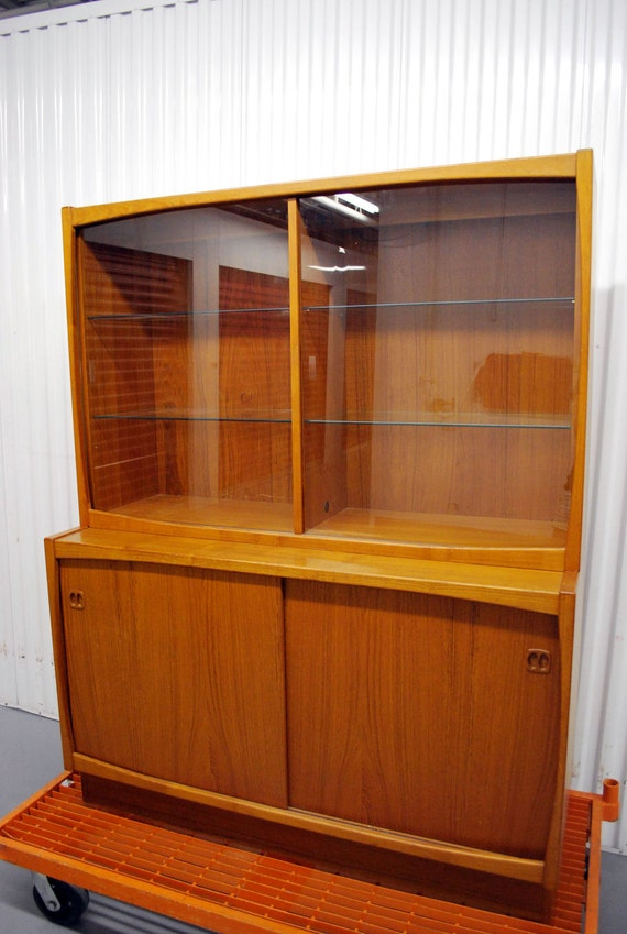 Mid Century Danish Modern Teak China Cabinet Hutch